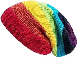 Crochet Knit Baggy Beanie One Size Rainbow
