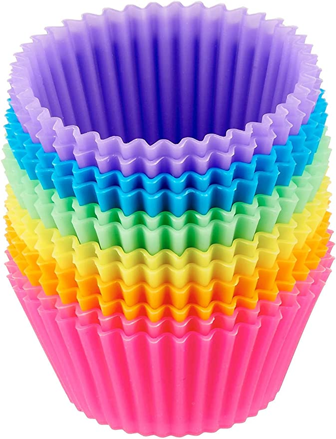 Amazon Basics Reusable Silicone Baking Cups, Pack of 12, Multicolor
