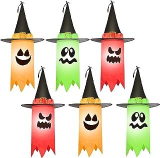 JOYIN Paquete de 6 fantasmas colgantes de 24 pulgadas para Halloween, decoración de fantasmas colgantes de Halloween con s...