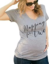 Napping for Two Maternity Shirt Soft Tri-Blend Womens V Neck Pregnancy Announcement