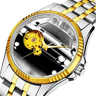 Men Automatic Mechanical Watch Luxury Brand Casual Sports Watches for Male Personality dial & Clear Window 450.Dodge challenger watch