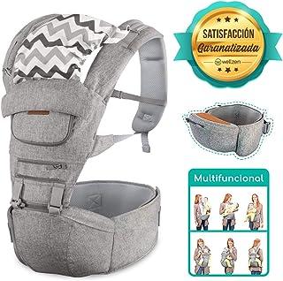 Cangurera para bebe Ergonómica multifuncional color gris 6 en 1, Hipseat Carrier, soporta hasta 20 kg, 120 cm de cintura