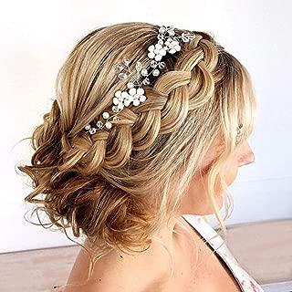 Artio Bride Wedding Hair Vine Accessory Flower Hair Piece Beaded Bridal Headpiece for Women and Girls (Silver)