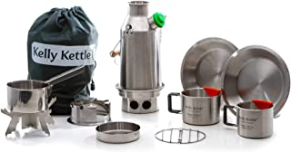 Kelly Kettle Trekker 20 oz. Stainless Steel Ultimate Kit (0.6 LTR) Rocket Stove Boils Water Ultra Fast with just Sticks/Twigs. for Camping, Fishing, Scouts, Hunting, Emergencies, Hurricanes, Tornados