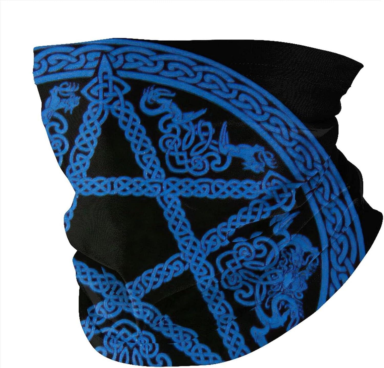 Blue Celtic Pagan Pentacle Balaclava Face Masks Bandana Sun Uv Protection Neck Gaiter Masks Magic Scarf Neck Gaiter Windproof Scarf Sunscreen Breathable For Sport&Outdoor