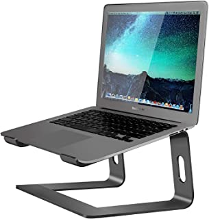 Soundance Aluminum Laptop Stand for Desk Compatible with Mac MacBook Pro Air Apple Notebook, Portable Holder Ergonomic Elevator Metal Riser for 10 to 15.6 inch PC Desktop Computer, LS1 Black