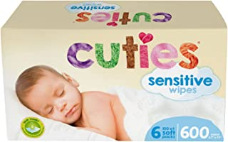 Cuties Complete Care Sensitive Baby Wipes, Unscented, 600Count