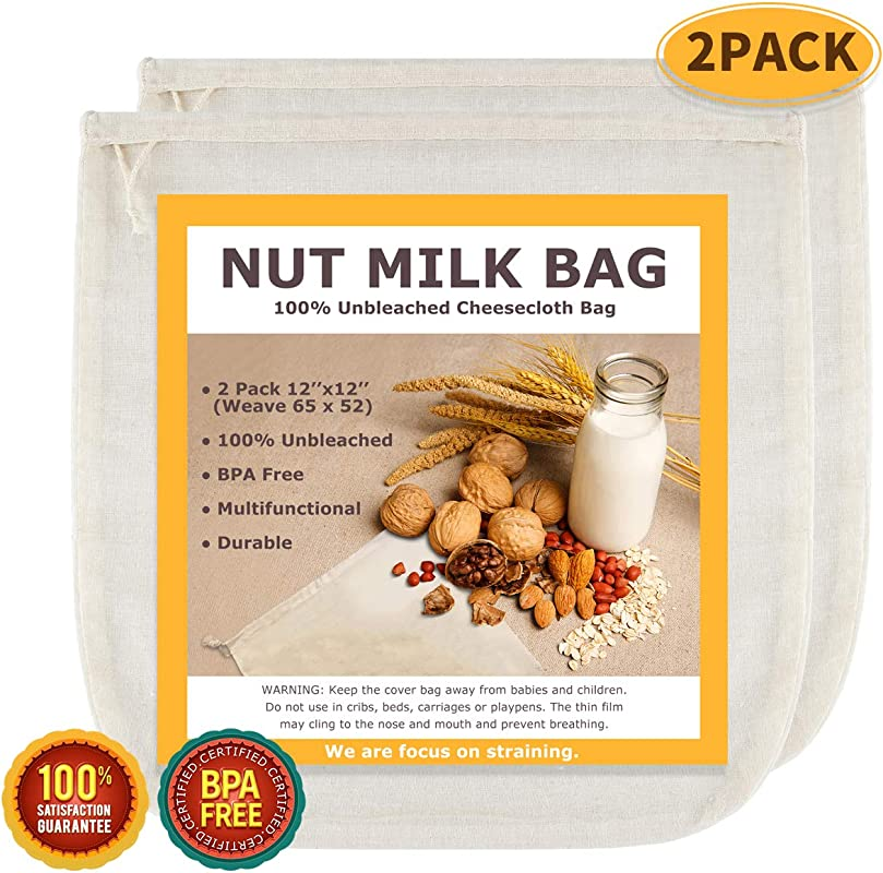 Nut Milk Bags All Natural Cheesecloth Bags 12 X12 2 Pack 100 Unbleached Cotton Cloth Bags For Cheese Tea Yogurt Juice Wine Soup Herbs Durable Washable Reusable Almond Milk Strainer Weave 65x52