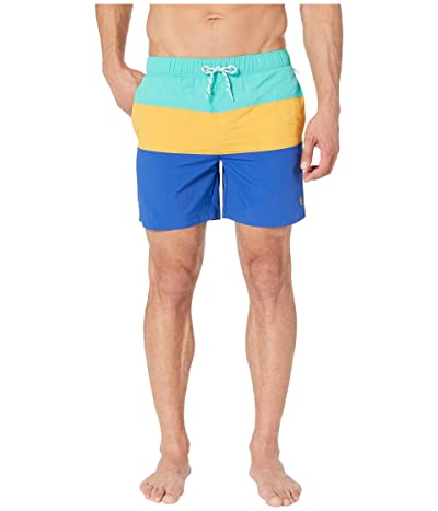 Original Penguin Color Block Elastic Waist Swim Shorts (Cadmium Yellow) Men