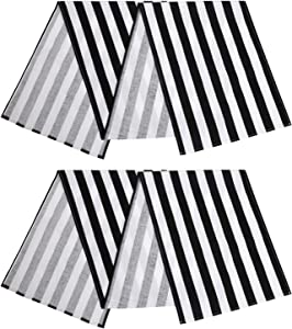 ANECO 2 Pack Striped Table Runner Cotton Striped Table Runner Modern Striped Design Table Runner Elegant Decor for Indoor Outdoor Events 13 x 108 Inches Black and White