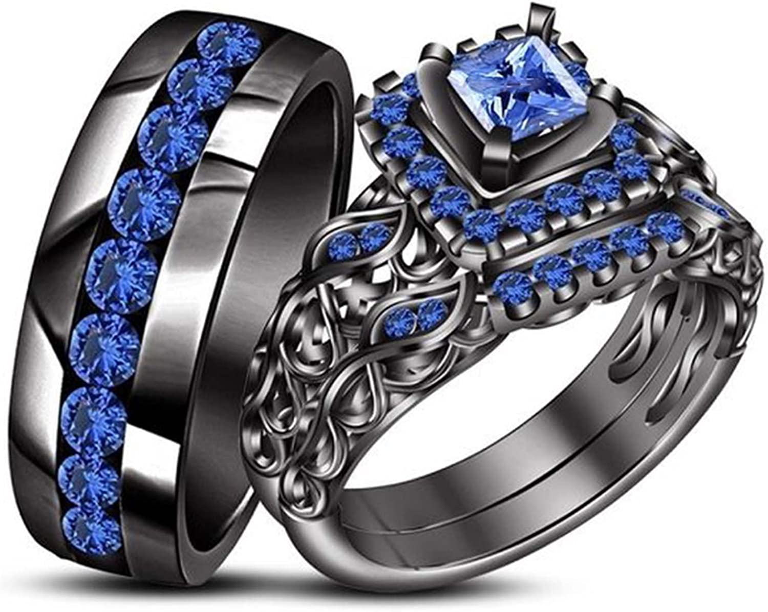 His Her Max 60% OFF Wedding Trio Ring Set Cubic Black Large special price Gold Plated Zirc 14K
