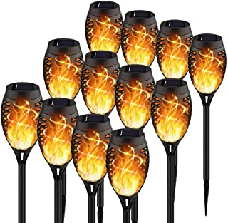 KYEKIO Upgraded 12Pack Torches, Solar Lights Outdoor, 12LED Solar Torch Lights with Dancing Flickering Flames, Waterproof ...