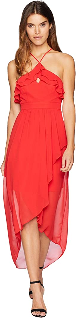 High Neck Ruffle Maxi Dress