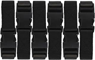 Luggage Nylon Straps with Quick Release Buckle Utility Straps for Travel Packing Outdoorsports 6 Pack 2.5 x 150cm Black