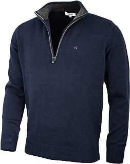 Calvin Klein Mens 2021 Knit Cotton 1/2 Zip Golf CK Top Sweater