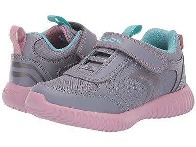 Geox Kids Jr Waviness 11 (Little Kid) (Grey/Pink) Girls Shoes