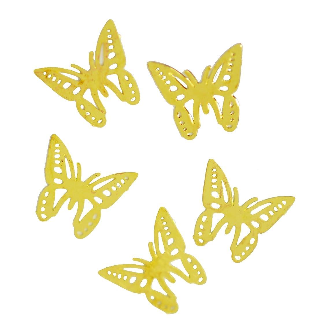 トークン感染する取り扱い薄型メタルパーツ バタフライ アゲハ蝶 6×6mm ゴールド 30p入り