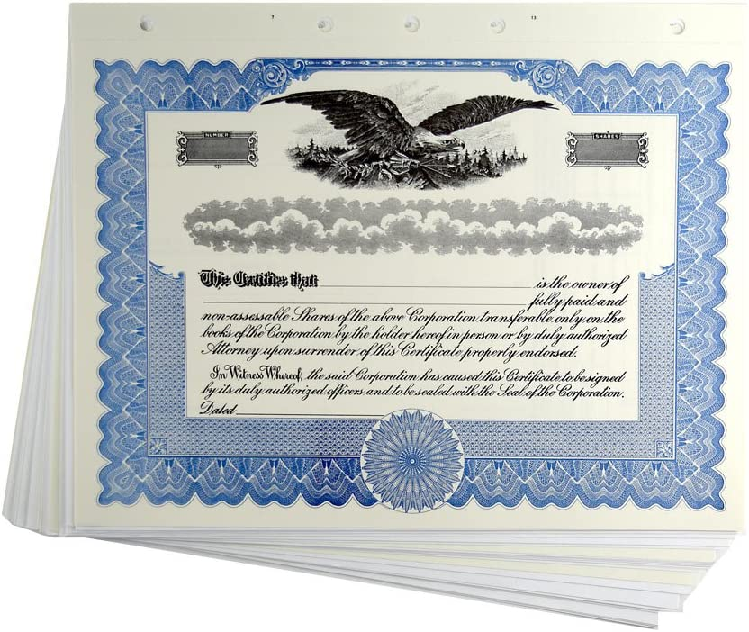 Blank Blue Directly managed store Stock Certificates Stubs for Corporations Washington Mall with