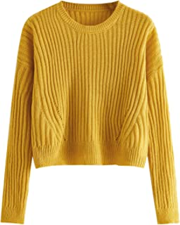 Milumia Womens Ribbed Knit Stand Collar Cropped Jumper Sweater Pullover