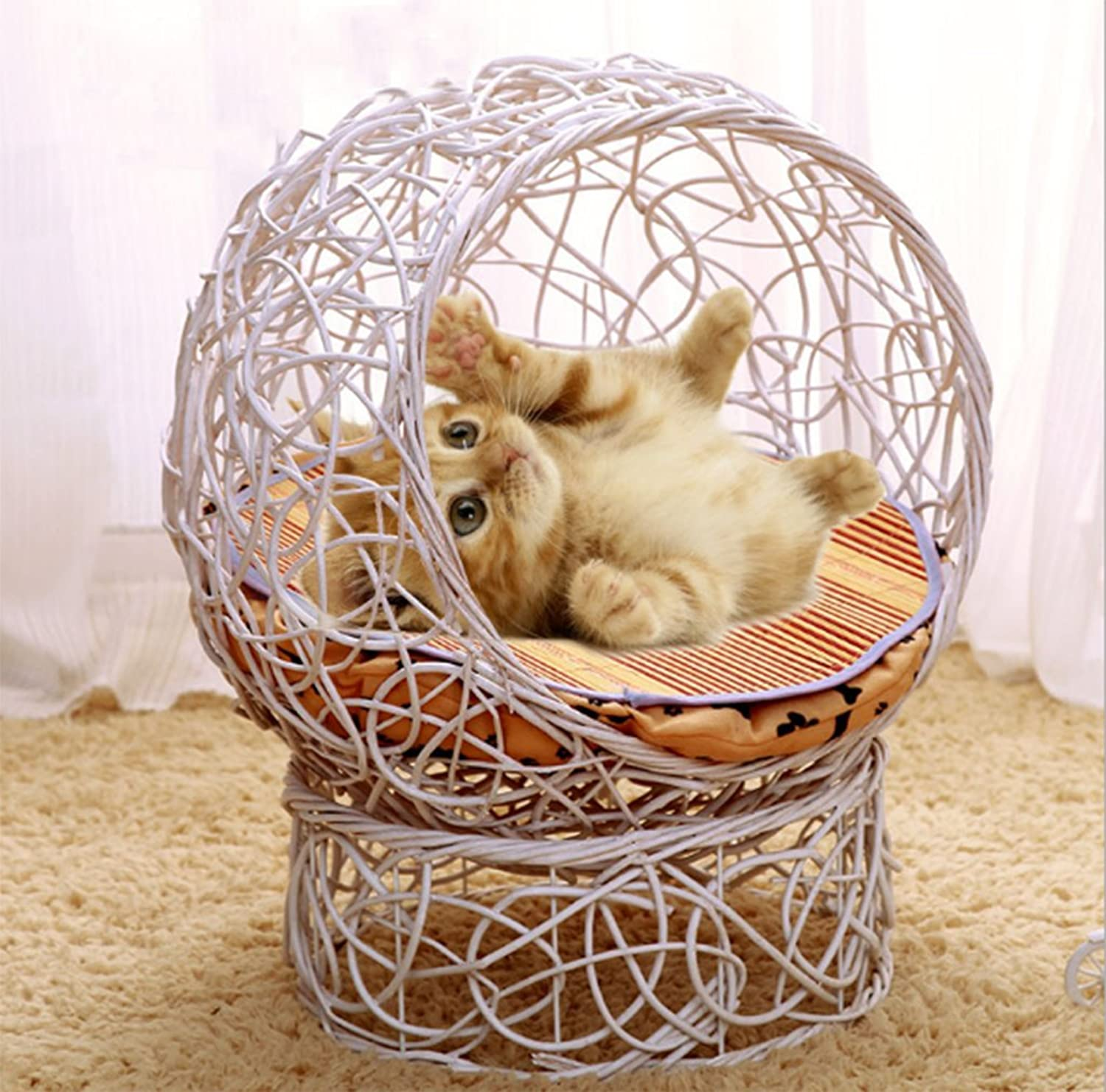 ABGLKMY Modern Rattan Wicker Cat House Villa Cat Cage Cat House Kennel Four Seasons Pet Nest Cat House Cat Litter Removable,White,S