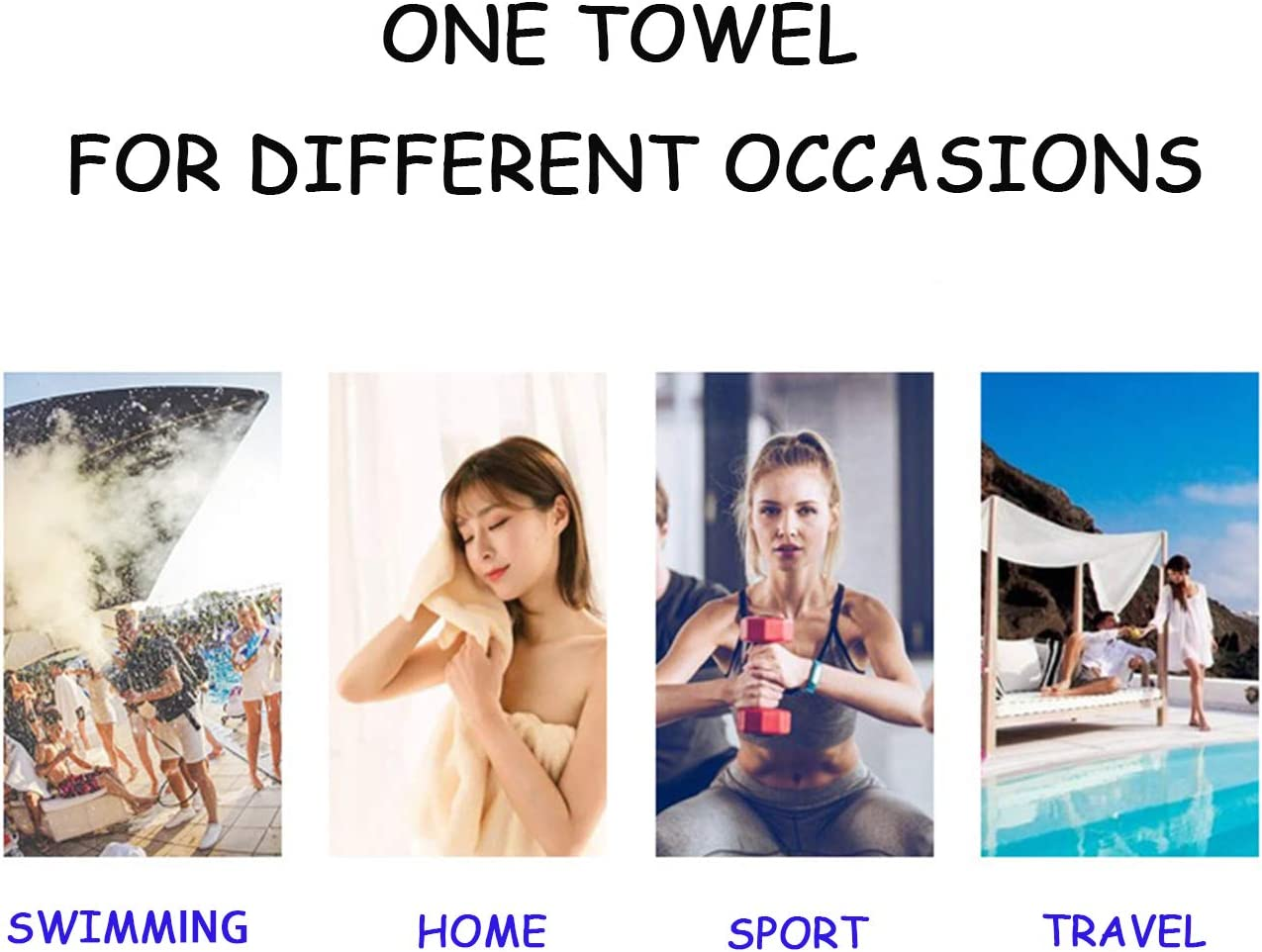 HAODE Quick Dry Towel Microfiber Towels for Body Fast Drying Towel for Outdoors Travel Camping Backpacking Swim Bath Gym Beach Towel