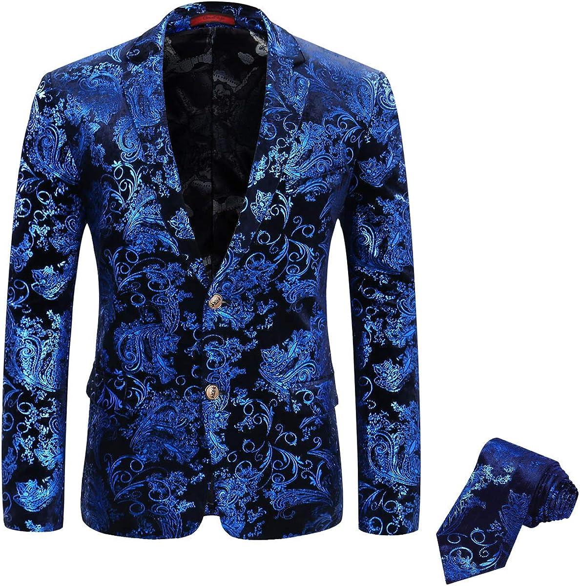 Mens Floral Tux Suit Jacket with Tie, Slim Party Dinner Dress Blazer with Print Tie