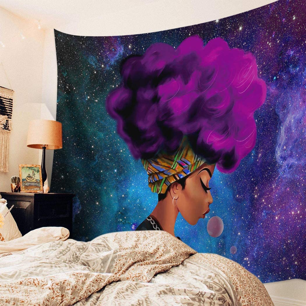 BRINGMEHOME African American Woman Tapestry for Bedroom Teen Girl Girl with Afro Hairstyle Purple Galaxy Printed Tapestry Wall Hanging Kids Girls Boys Room Living Room Decor (ZZL-201209TasperyssSLXM08763GTABBME), 51*59in=130*150cm