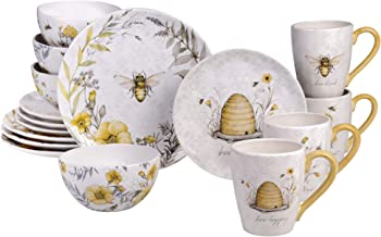 Certified International Bee Sweet 16 piece Dinnerware Set, Service for 4, Multi Colored