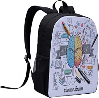 Doodle Children's Backpack,Two Sides of Human Brian Analitical Imaginitive Art Educaion Abilities for Travel,12