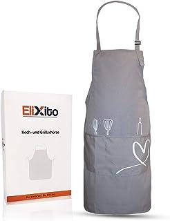 Delantal de cocina EliXito prémium, 100% algodón, incluye caja de regalo, fácil de limpiar y resistente, también perfecto como delantal para barbacoa y horno., algodón, gris, 70x83 cm