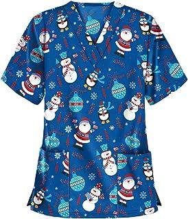 RJDJ home Scrub Tops for Women's Christmas Uniform - Thanksgiving Print V Neck Nurse Nursing Working Uniform with Pockets