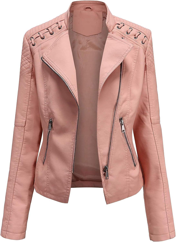 Pantete Women's Faux Leather Jacket Moto Biker Slim Short Coat