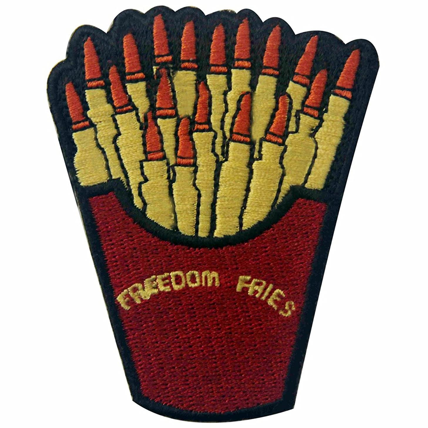 Freedom Fries with Bullet Embroidered Badge Iron On Sew On Patch