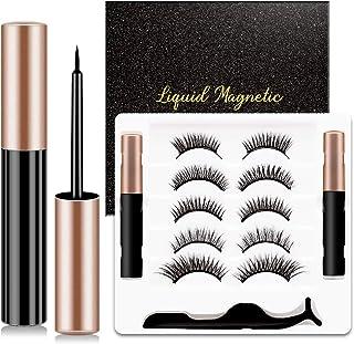 Magnetic Eyeliner and Eyelashes Kit, Magnetic Eyelashes with 2 Eyeliner, 5 Paris No Glue Reusable False Lashes