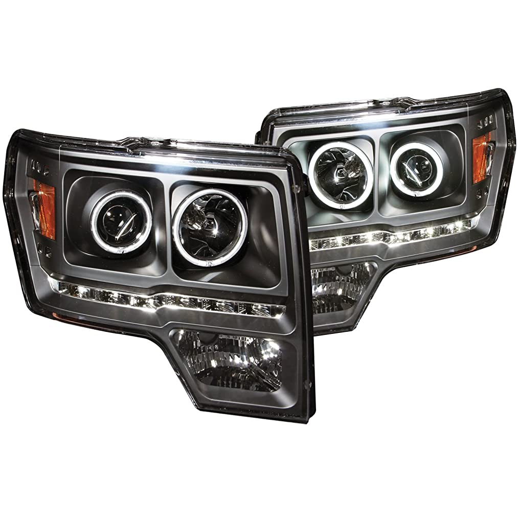 AnzoUSA 111298 Black/Amber Halogen Projector Headlight for Ford F-150