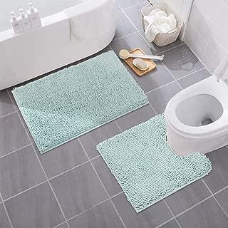 MAYSHINE Bathroom Rug Toilet Sets and Shaggy Non Slip Machine Washable Soft Microfiber Bath Contour Mat (Spa Blue,32