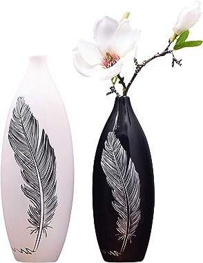 MAYIAHO Florero decorativo para salón, moderno, color blanco, grande, para ventana, mesa, oficina, cerámica, grande, juego de