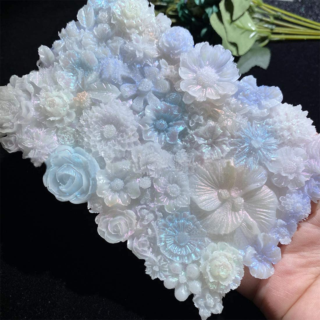 Platter Molds FineInno Silicone Resin Tray Molds Flower Platter Molds Large Resin Coaster Molds DIY Faux Agate Tray for Making Bottom Bracket Desk//Table//Room Decor