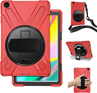 Samsung Galaxy Tab A 10.1 2019 Case With Handle Hand Strap,Herize Hybrid Shockproof Protective Case with Carrying Shoulder Strap and Rotatable Kickstand For Galaxy Tab A 10.1 2019 SM-T510/SM-T515(Red)