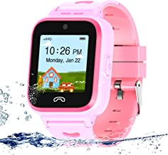 UOTO 4G Kids Smartwatch Phone with Sim Card, WiFi LBS GPS Tracker Watch Waterproof for Children with Pedometer/Remote monitoring/Game/FaceTalk/2-way Call/SOS, Kids Girls Toys Age 4-14 (Pink)