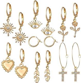 7 Pairs Small Hoop Earrings for Women - Spike Huggie Hoop Earrings Set 18K Gold/Silver/Rose Gold Plated