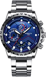 NIBOSI Men's Watches Luxury Sports Chronograph Waterproof Military Quartz Stainless Steel Wristwatches Blue Color