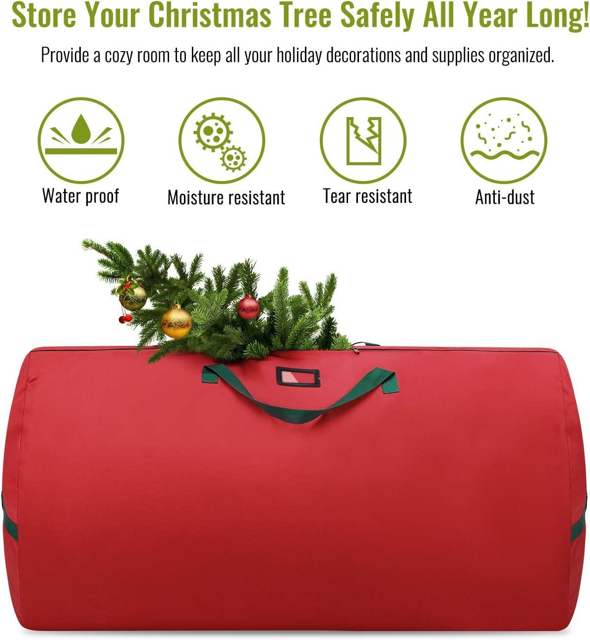 Mango Verde Rojo Contenedor de Almacenaje Resistente a Desgarros con Cierre de Cremallera para /Árbol Navide/ño Nuovoware Bolsa de Almacenamiento para /Árboles de Navidad con Tela Oxford