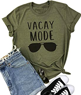 YUYUEYUE Vacay Mode Sunglasses Letter Print T-Shirt Casual Short Sleeve Top Tee Blouse