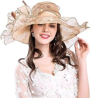 Bigood Women UV Protection Organza Mesh Bow Church Summer Cap for Evening Party