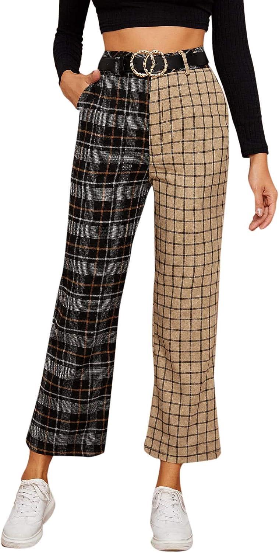 DIDK Women's Tartan Wide Leg High Waist Plaid Pants
