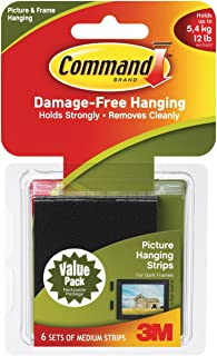 3M Co mmand Medium Picture Hanging Strips-Black 6 Sets kg, Pairs