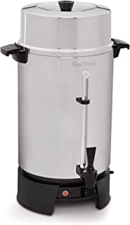 West Bend 33600 Highly Polished Aluminum Commercial Coffee Urn Features Automatic Temperature Control Large Capacity with Quick Brewing Smooth Prep and Easy Clean Up, 100-Cup, Silver (Renewed)