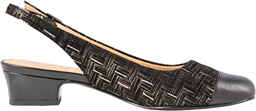 Black Printed Woven Leather/Smooth Man Made