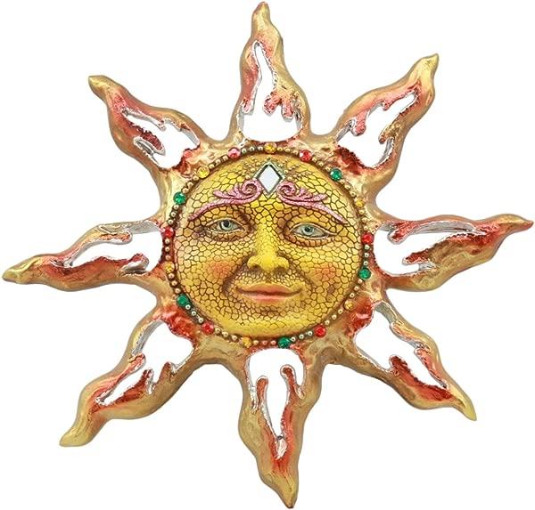 Ebros Beautiful Mosaic Celestial Solar Radiant Surya Sun God Wall Decor 11 Wide 3D Figurine Home Decor Sun Face Wall Plaque